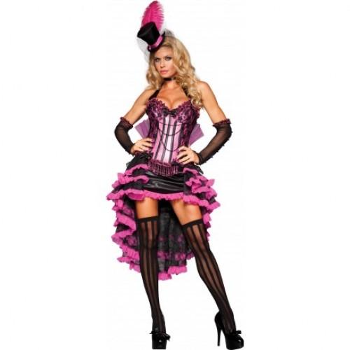 Fantasia Feminina Burlesca Rosa e Preta