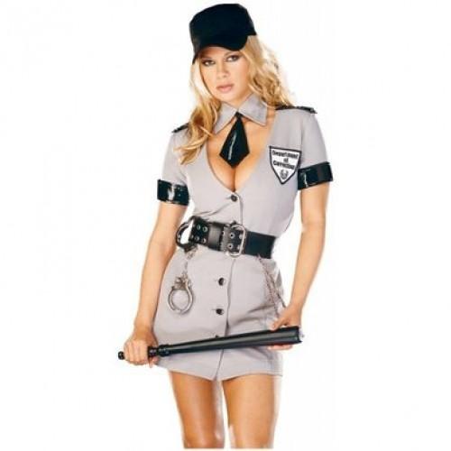 Fantasia Policial Femina Cinza