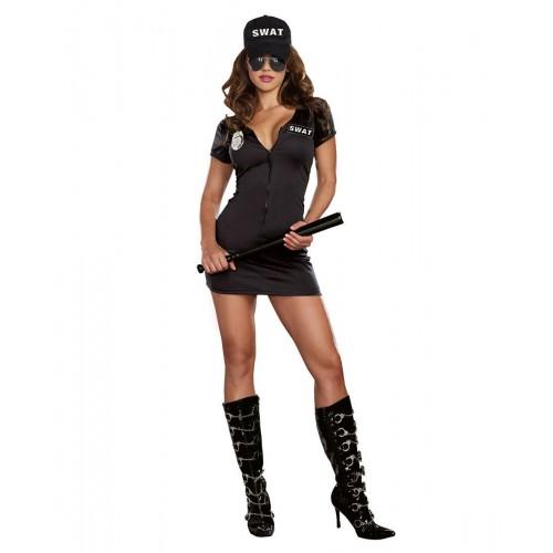 Fantasia Policial Feminia Preta Swat