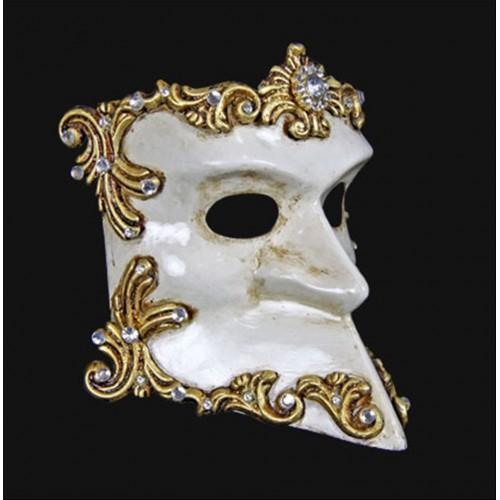 Mascara Veneziana Branca e Dourada