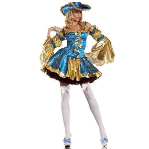 Pirata Vestido Azul e Dourado
