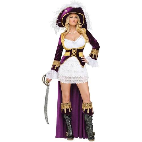 Pirata Vestido Branco com Capa Roxa