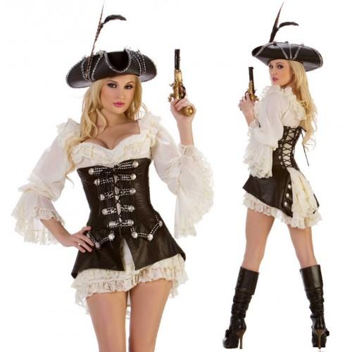 Pirata Vestido Branco com Chapéu