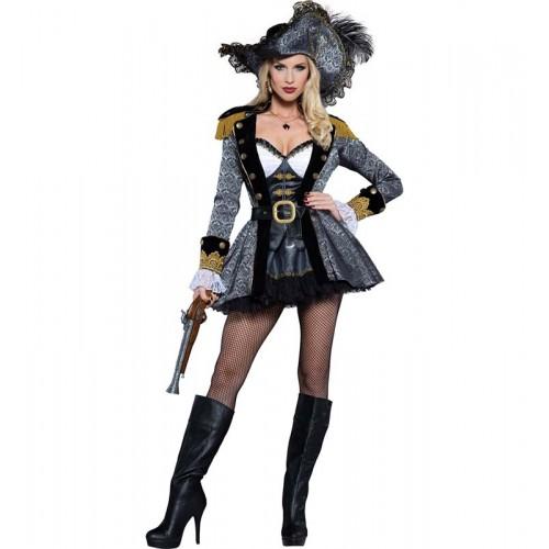 Pirata Vestido Cinza e Preto
