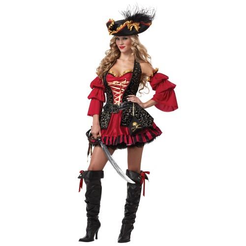 Pirata Vestido Vermelho e Preto com Chapeu