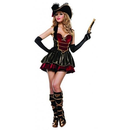 Pirata Vestido Vermelho e Preto