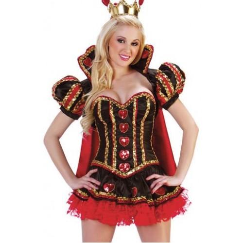 Vestido Dama de Copas Vermelho com Capa