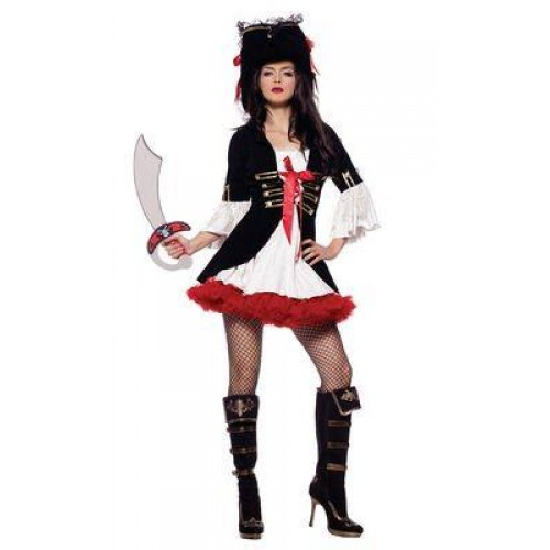 Vestido Pirata Branco e Preto