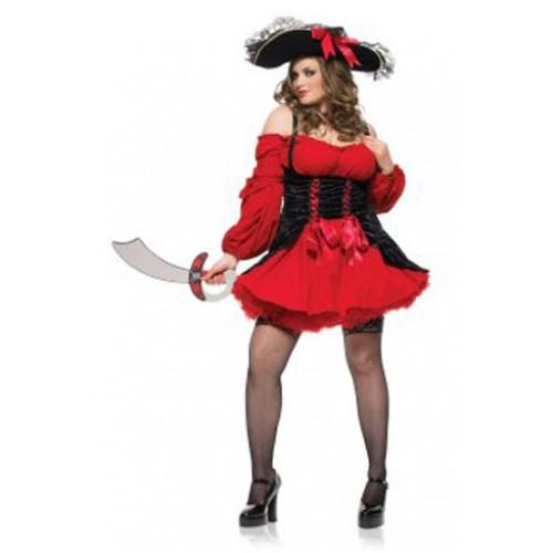 Vestido Pirata Vermelho Plus Size